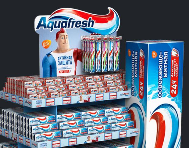 3D проект креативных стоек, театрализации для выкладки продукции зубной пасты.