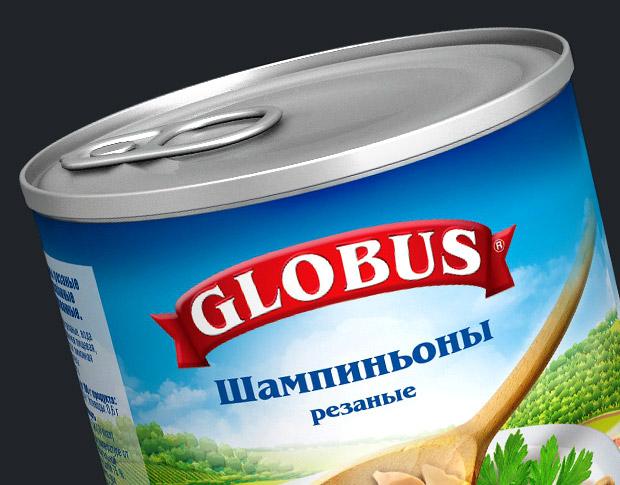 Этикетка на банку «Шампиньоны резаные» для «Globus®»
