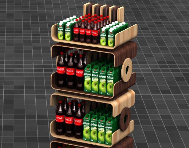 3D модель конструкций стоек из дерева для сока «Добрый»